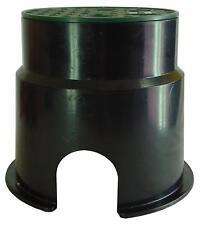 Irrigation Control Valve Box Hides Solenoid 130mm Round Black Green Lid Plastic