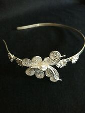 JARA STERLING FINE SILVER ART FILIGREE BUTTERFLY TIARA. 925