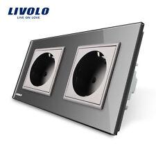 Livolo Grau Glas Steckdosen Touch Lichtschalter Wechselschalter Schalter in Grau