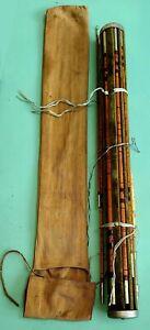 Rare Vintage Antique Bamboo Fly Rod 9 1/2' Fishing Pole Wooden Velvet Holder