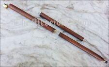 Shiny Brass Handle Solid Walking Cane for Elder Parents Vintage Theme Wood Stick