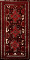 Hand-Knotted Tribal Geometric Balouch Afghan Oriental Area Rug Nomad Carpet 3x7