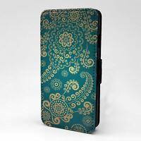For Mobile Phone Flip Case Cover Green Swirls Vintage Pattern - G997