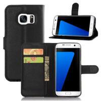Negro Libro Cartera Funda Tipo para Samsung Galaxy S7 Edge Tarjeta Ranuras Folio