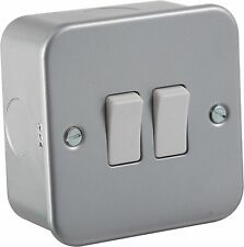 10A 2G 2 Way 230V Metal Clad Electric Wall Plate Switch For Home or Work Lights