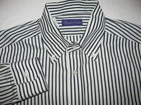 Ralph Lauren Purple Label Long Sleeve Striped Black White Shirt Italy MEDIUM