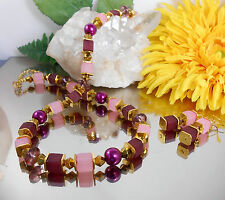 TRAUMHAFTES 2er SET / Collier Würfel Kette BORDEAUX GOLD ROSA + GLAS Perlen