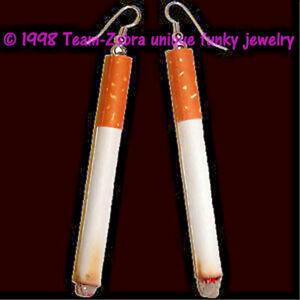 Funky Punk LifeSize CIGARETTE EARRINGS Diva Biker Smoker Smoking Costume Jewelry