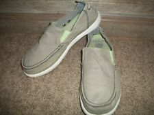 Crocs Men Walu Relaxed Slip On Canvas Moccasin Casual Gray/Green, Sz 11