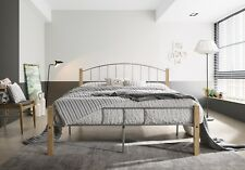 Double Metal Bed Frame w/ Solid Wood Timber Post Queen King Single Bedroom