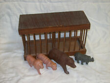 Antique Wooden Circus Cage With Celluloid Bear, Lion, Tiger And Rhino