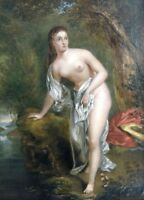 Lovely 18/19th century Antique Oil Painting of Lady in River Landscape