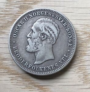 Norway Oscar II 1878 Two Kroner In Great Condition...