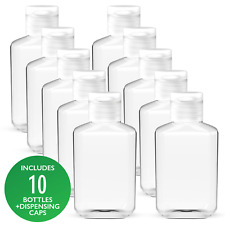 10 Pack x 2 oz (60 ml) Empty Clear PET Plastic Bottles With Flip Top Caps