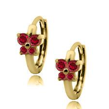 Female's 14k Solid Yellow Gold July Birthstone Ruby Huggie Butterfly Earrings