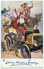 PERE NOEL.SANTA CLAUS. FATHER. CHRISTMAS. AUTOMOBILE ANCIENNE.