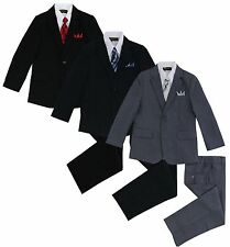 Formal Kids Toddler Boys Pinstripe Suit 5 PC Set With Vest and Tie Size 2T-14