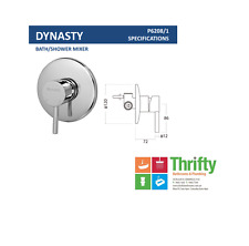 Novelli Dynasty Wall Mixer for Shower or Bath Chrome Pin Lever RRP $117