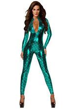 Fish Scale Bodysuit Faux Leather Women Stretch Metallic Clubwear Zipper Jumpsuit