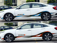 Graphics Vinyl Flame Sticker Decal Fit For Honda Civic Side Door Stripe 2 Sides