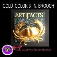 """JJ"" Jonette Jewelry Gold Silver Bronze Pewter ' Crab' Brooch"