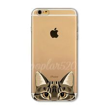 Poppy Dog&Cat Pattern Clear TPU Case Cover For iPhone 4 4S 5S SE 5C 6 6S Plus