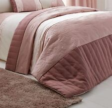 SWIRLS STRIPED SEQUINS PINK CREAM QUILTED BEDSPREAD THROW 240X260CM