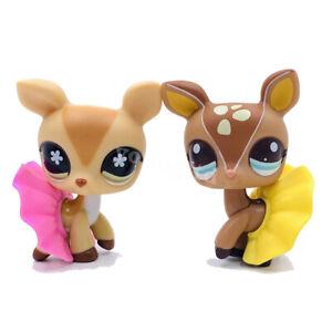 2Pcs littlest pet shop toys lps toys deer #2499 and #634 with 2 pcs Accessories