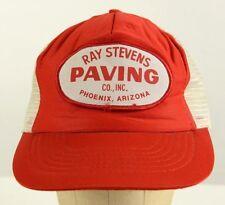 Vintage Ray Stevens Paving Phoenix Arizona Red Mesh Truckers Cap Hat Baseball