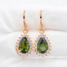 18K Gold Filled Women Green Mystic Topaz Water Drop Dangle Earrings Jewelry
