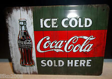 COCA COLA/ COKE,  20X15cm  LICENCED , EMBOSSED (3D) METAL WALL SIGN, ICE COLD