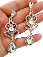 Clear Austrian Crystal Chandelier Earrings Rhinestone 2.9 in