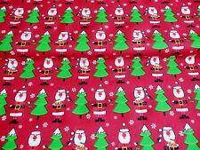 NEW! Christmas Tree & RED SANTA Xmas  PolyCotton Fabric Reduced Prices