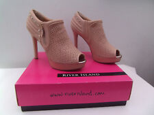 RIVER ISLAND HIGH HEEL PEEP TOE SHOE/BOOTS SIZE 6 NETT FAS PINK LIGHT WITH BOX