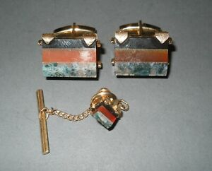 Vintage Swank Cufflinks and Chain Tie Tack Gold Color Layered Multi Stones Penta