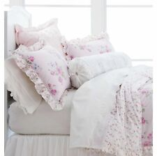New Simply Shabby Chic 100% Cotton Woodrose White Embroidered Sheet Set-Cal King