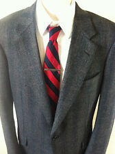 Hickey Freeman Soft Wool Jacket Sz 42XL Charcoal Gray Plaid 2 Button Union Made