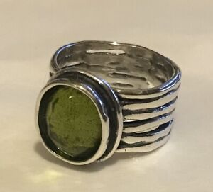 Silpada Daintree Sterling Silver 925 Natural Green Quartz Ribbed Cable Ring 6.5