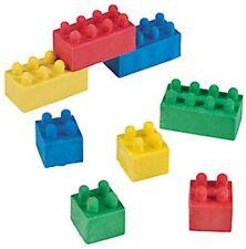 Pack of 12 - Colour Brick Block Rubbers Erasers - Office Teacher Supplies