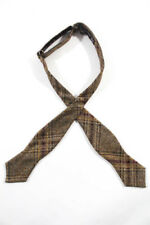 ALEXANDER OLCH Mens Tan Brown Yellow Red Wool Plaid Bow Tie $120 New