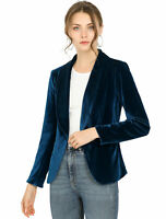 Allegra K Women's Office Coat Shawl Collar 1 Button Velvet Blazer