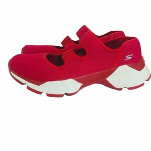 Skechers Goga Max Mary Jane Comfort Shoes Red Memory Foam Textile Womens Sz 7