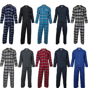 Mens Cotton Flannel / Brush Cotton PJ Pyjama Set PJ's Pyjamas Sizes S-4XL