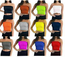 Women Ladies Sheering Boob Tube  off Shoulder Strapless Bralet Vest Crop Top