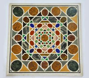 "30"" Marble Table Top Handmade Semi precious stones Pietra dura Art Work"
