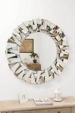 Large Wall Mirror Modern Circular Multi Facet Sunburst All Glass Venetian Round