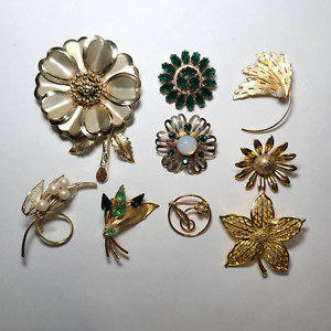 Lot of 9 Brooches Pins Gold Tone Flower Leaf Unmarked Unsigned