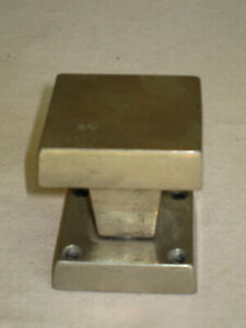 Vtg White Bronze Door Knob, Sand-Cast, Modern Square Design