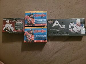 LOT OF (4) 2020-21 HOCKEY BOXES (1) ARTIFACTS (2) O-PEE-CHEE (1) ALEXIS LAFREN.
