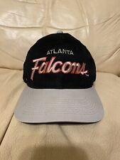 Vintage 90s Sports Specialties Atlanta Falcons Black Grey Script Snapback Hat